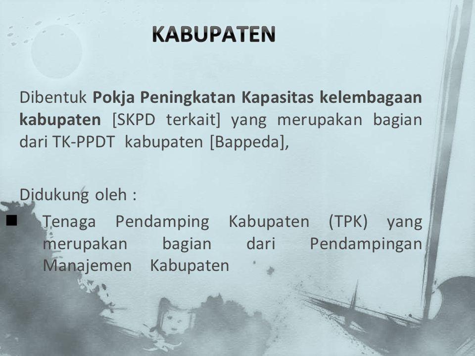 KABUPATEN Dibentuk Pokja Peningkatan Kapasitas kelembagaan kabupaten [SKPD terkait] yang merupakan bagian dari TK-PPDT kabupaten [Bappeda],